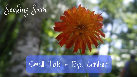 "A dainty orange flower is forefront. The background is a blurry woods. Several people are standing in the background, but they are out of focus. Text reads ""Small talk and Eye Contact"""