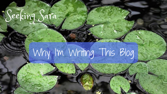 Bright green, rain-soaked lily pads on a dark pond. Ripples break the pond's surface, creating patterns. Text reads Why I'm writing this blog.