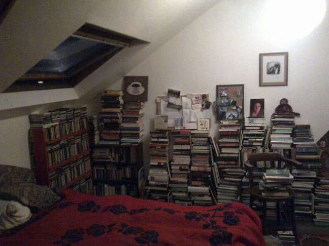 A nighttime picture of James' attic haven. The ceiling is slanted and there is a skylight. Stacks of books line one wall, a rack of CDs lines another. There is a bed with bright red bedsheets.
