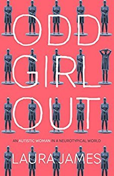 "The bright, vividly red cover of ""Odd Girl Out"" by Laura James. The title is written in huge white capital letters. There are pictures of uniformly positioned mannequins in the background, with one single mannequin posed differently."