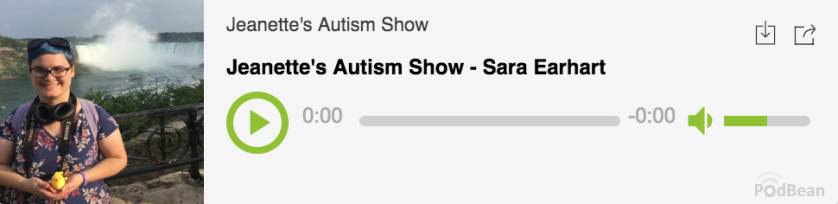 A screenshot image of the podcast player showing Sara's interview. The title reads