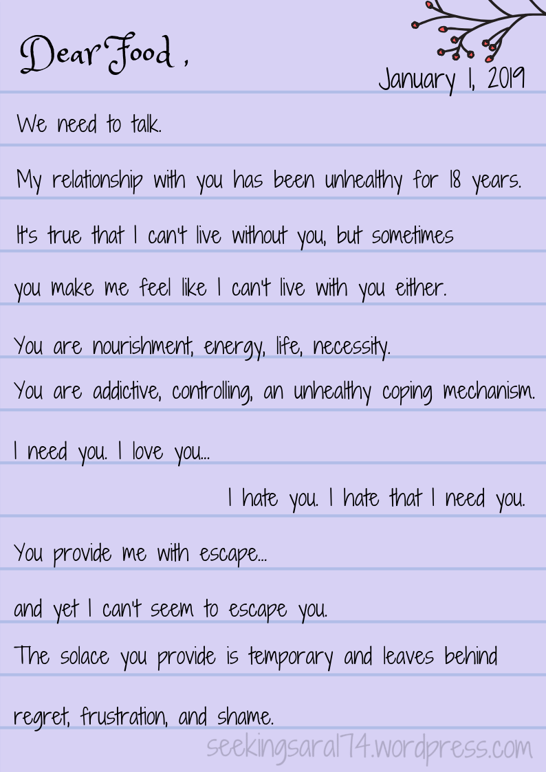"""An image of a purple notebook page with text on it. The date reads January 1, 2019. Above the date is a branch with red buds. Text reads, """"Dear Food, We need to talk. My relationship with you has been unhealthy for 18 years. It's true that I can't live without you, but sometimes you make me feel like I can't live with you either. You are nourishment, energy, life, necessity. You are addictive, controlling, an unhealthy coping mechanism. I need you. I love you. I hate you. I hate that I need you. You provide me with escape... and yet I can't seem to escape you. The solace you provide is temporary and leaves behind regret, frustration, and a shame."""