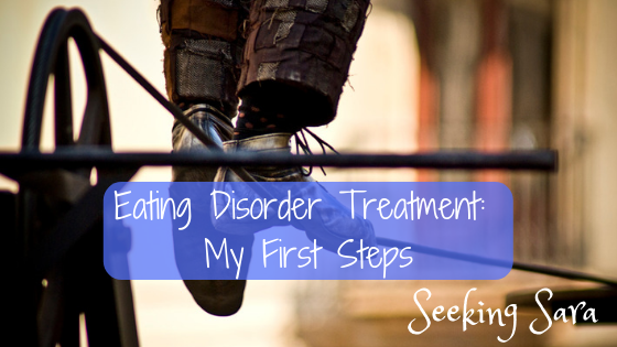 "A close-up of a pair of feet and legs of a person balanced on a tightrope. Text reads, ""Eating Disorder Treatment: My First Steps. Seeking Sara."""