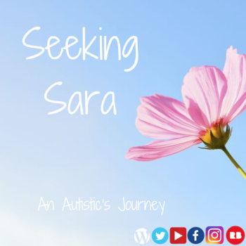 "A blue sky background with a closeup of a pink flower turning up toward the sun. Text reads ""Seeking Sara An Autistic's Journey"" in white."