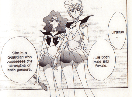 "A scan of a Sailor Moon comic book in which Sailors Uranus and Neptune are standing. Neptune is saying ""Uranus is both male and female. She is a Guardian who possesses the strengths of both genders."""