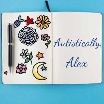 "An open journal with colorful, cute floral and nature designs on the left page, and text that reads ""Autistically, Alex"" on the righthand page."